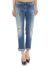 Armani Jeans J15 Daisy relaxed rip and repair jean in mid wash