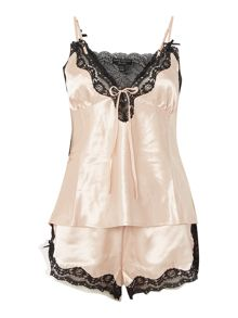 Lipsy Silky lace trim cami and short pj set