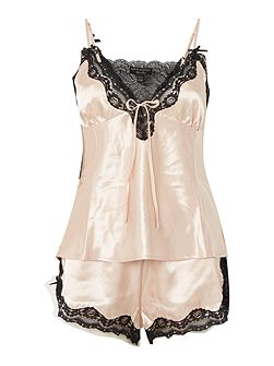Silky lace trim cami and short pj set