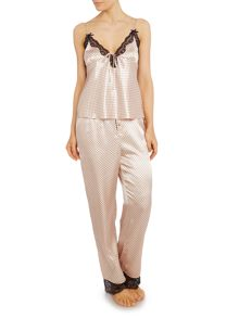 Lipsy Silky cami and trousers polka dot pj set