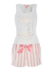 Lipsy Dream in diamonds vest and striped short pj set