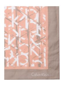 Calvin Klein Large logo cotton mix square scarf