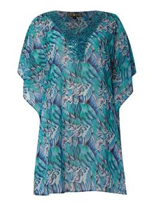 Biba Parakeet print sequin trim throw on kaftan