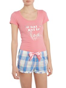Lipsy What`s not to love vest and checked short pj set