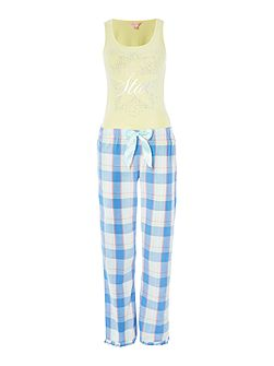 Twinkle star vest and checked trouser pj set
