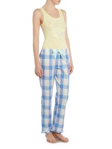 Lipsy Twinkle star vest and checked trouser pj set