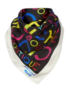 Boutique Moschino All over logo square silk scarf