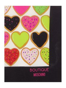 Boutique Moschino All heart dougnut square silk scarf