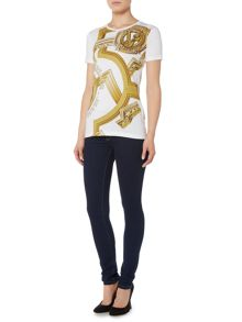Versace Jeans Skinny jean with diamante logo pocket