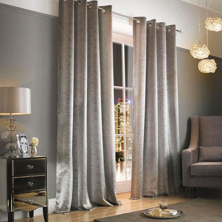 Kylie Minogue Adelphi Mist Lined Eyelet Curtains 66x90