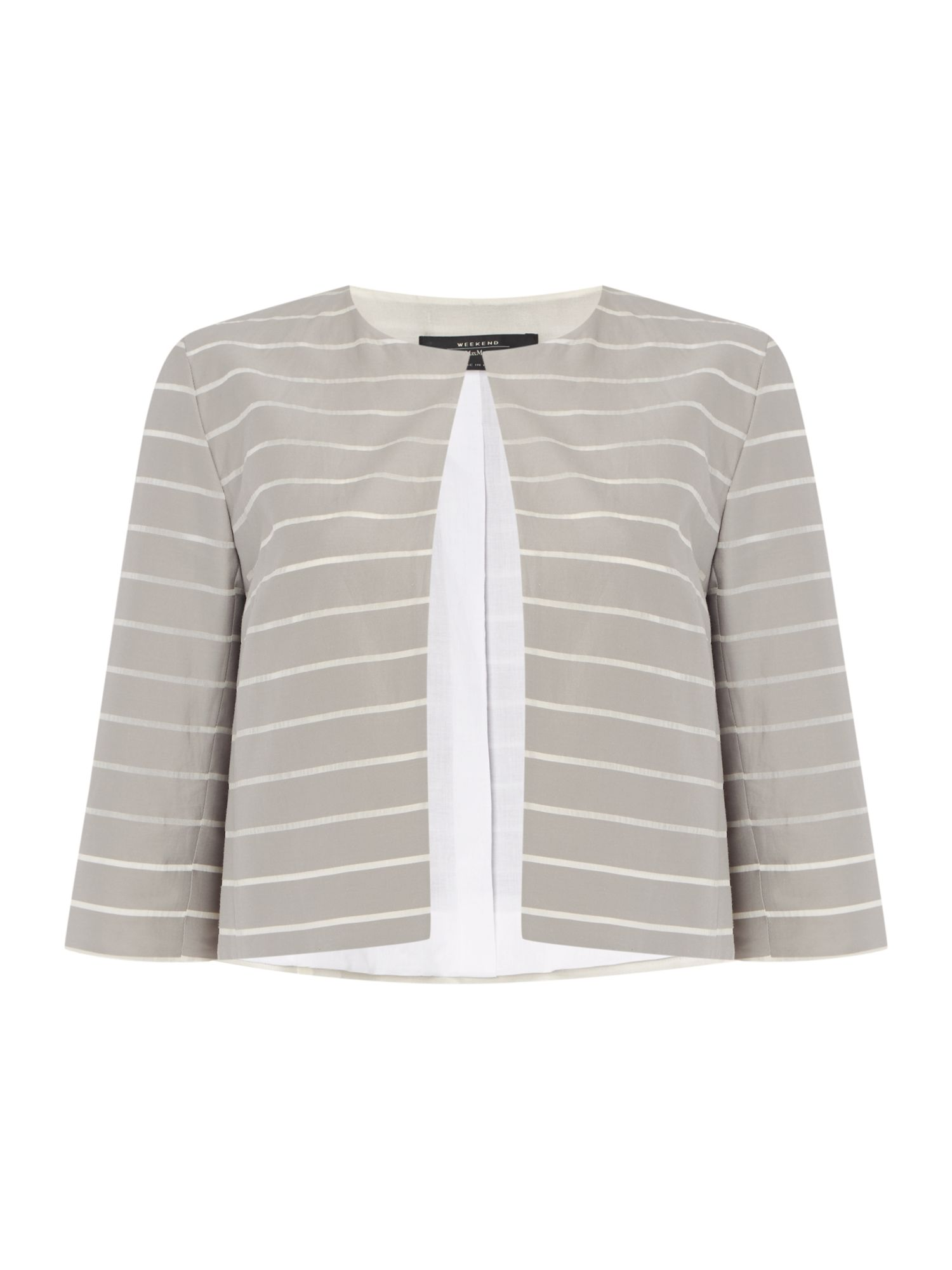 Max Mara Weekend Paese three quarter sleeve stripe silk mix jacket, Light Grey