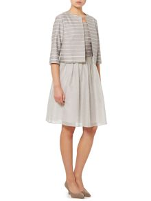 Max Mara Paese three quarter sleeve stripe silk mix jacket