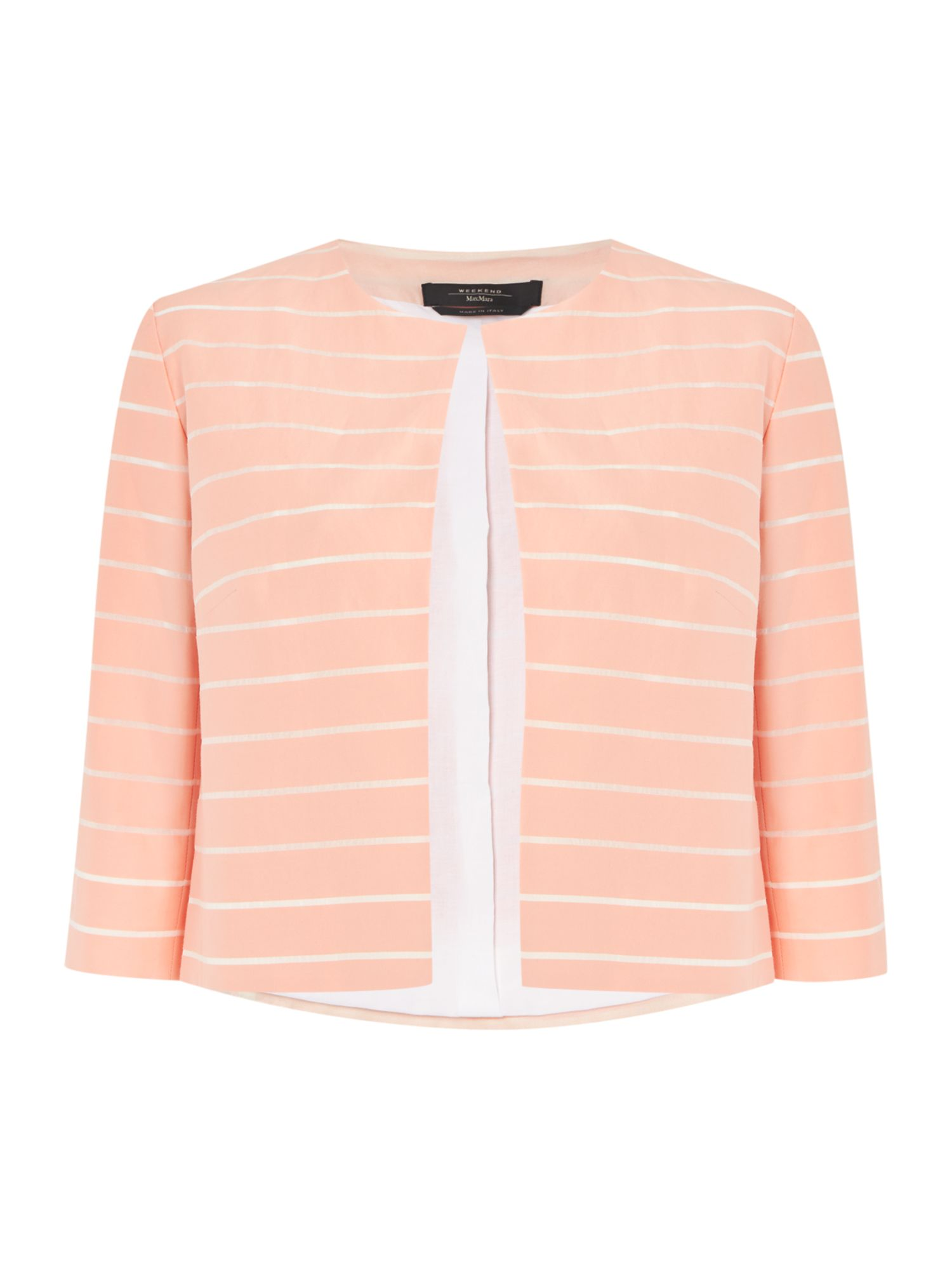 Max Mara Weekend Paese three quarter sleeve stripe silk mix jacket, Salmon
