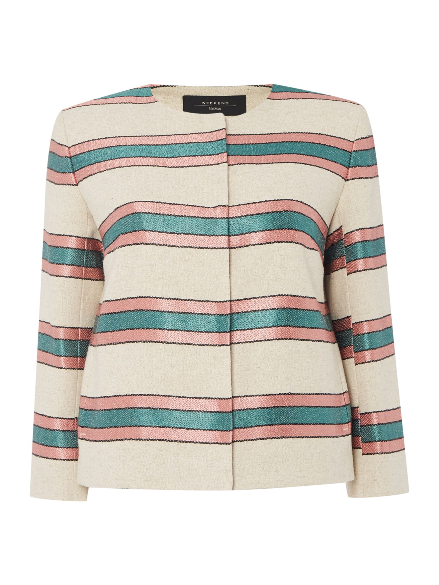 Max Mara Weekend Burano long sleeve stripe jacket, White