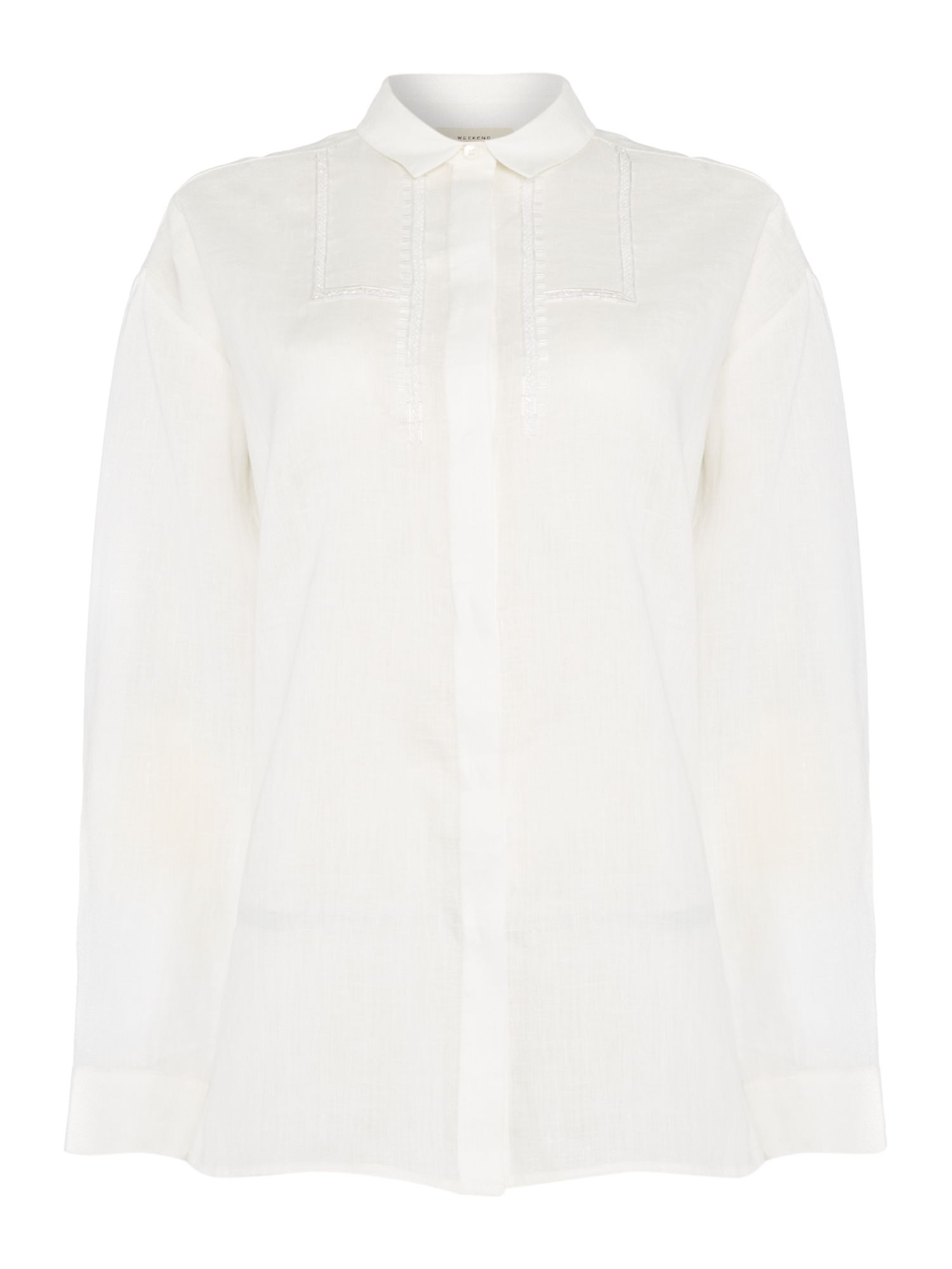 Max Mara Weekend Kim long sleeve linen shirt, White