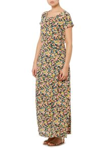 Max Mara Tolosa short sleeve floral silk maxi dress