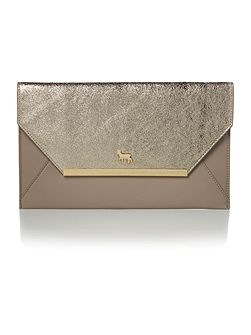 Clarence gold and grey envelope clutch bag