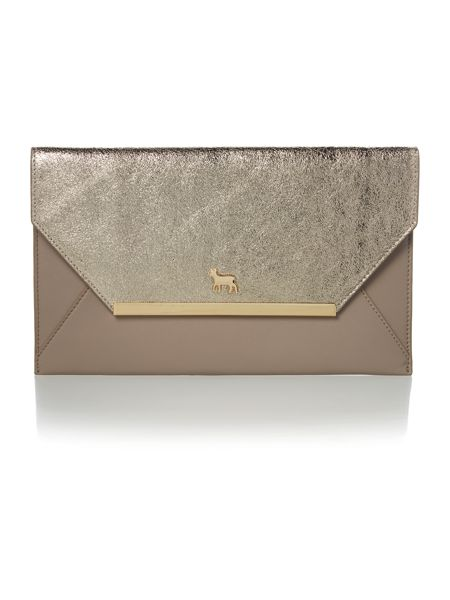 Lamb 1887 Clarence gold and grey envelope clutch bag