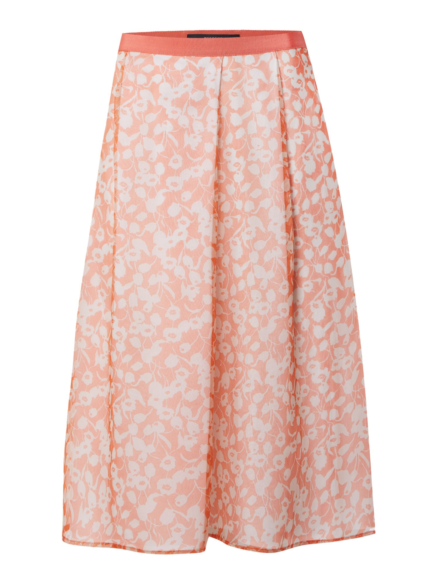 Max Mara Weekend Lindsey pleated floral silk skirt, Salmon