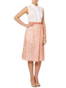 Max Mara Lindsey pleated floral silk skirt