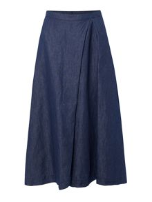 Max Mara Nazione denim skirt with pleat