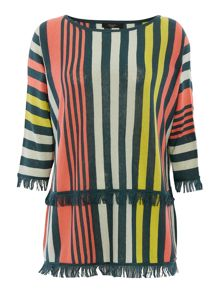 Max Mara Biblios vertical stripe long sleeve fringe jumper
