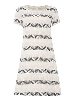Geranio geometric print stripe short sleeve dress