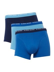 3 pack of colour block contrast waistband trunk