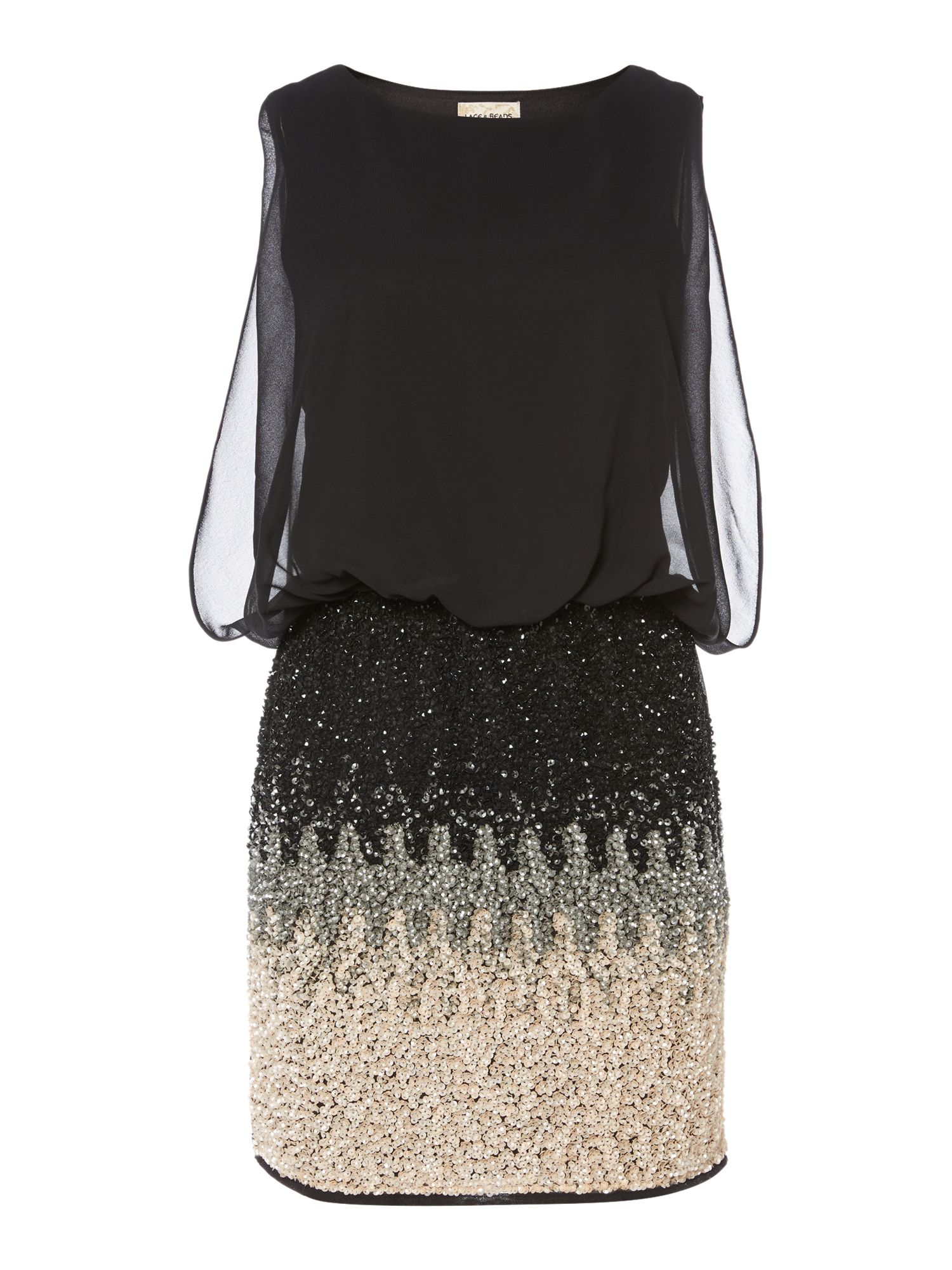 Lace and Beads Lace and Beads Sleeveless Blouson Top Ombre Sequin Skirt Dress, Black