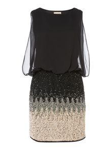 Sleeveless Blouson Top Ombre Sequin Skirt Dress