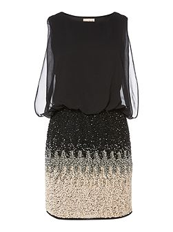 Lace and Beads Sleeveless Blouson Top Ombre Sequin