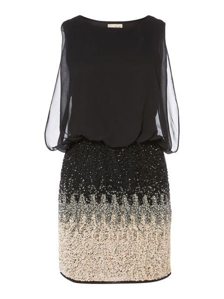 Lace and Beads Sleeveless Blouson Top Ombre Sequin Skirt Dress