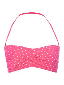Polo Ralph Lauren Pin dots ruffle bandeau bikini top