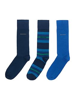 3 pack stripe and solid socks gift box