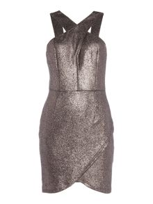 Girls on Film Halterneck Glitter Lurex Bodycon Dress