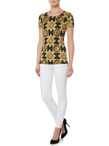 Versace Jeans Skinny jean with leather quilted side panel