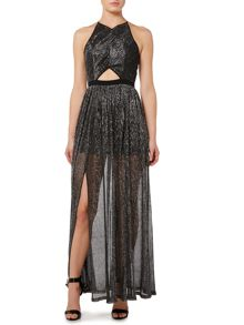 Girls on Film Halterneck Cut Out Middle Glitter Maxi Dress