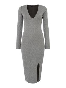 Girls on Film Long Sleeved V Neck Glitter Bodycon Dress