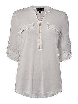 Jersey blouse with zip collar