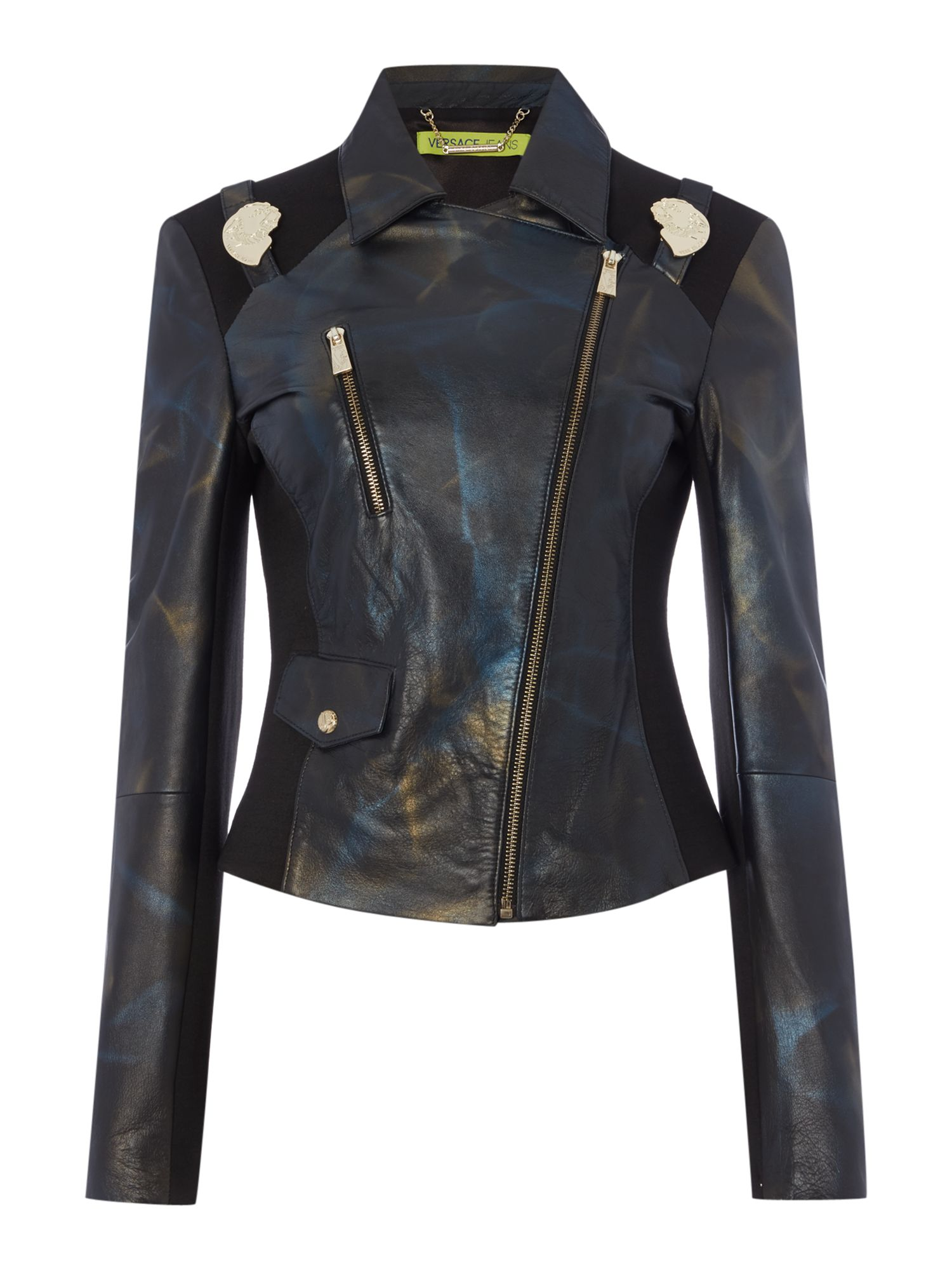 Versace Jeans Leather jacket with shoulder detail, Black