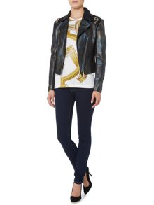 Versace Jeans Leather jacket with shoulder detail