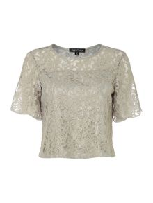 Girls on Film Short Sleeved Cropped Lace Detailed Top