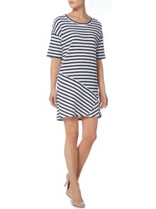 Short sleeve contrast stripe dress
