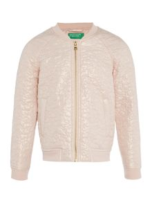Benetton Girls Star embossed bomber jacket