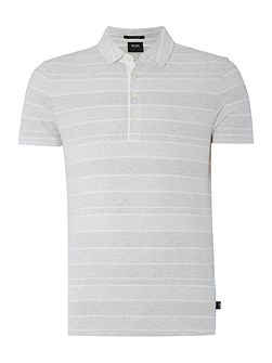 Slim Fit Place Linen Mix Striped Polo