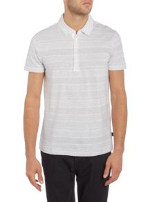 Hugo Boss Slim Fit Place Linen Mix Striped Polo