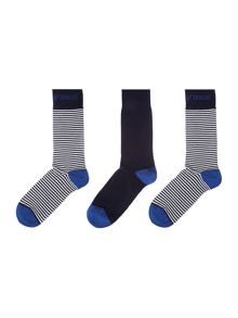 3 pack stripe and plain heel socks