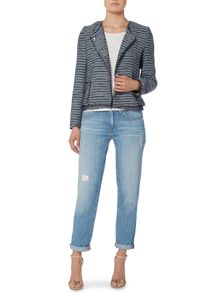 Hugo Boss Frayed hem stripe jacket