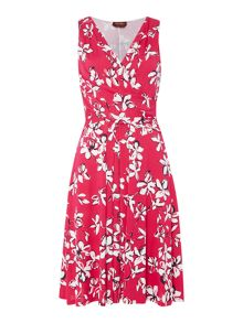 Max Mara Nome jersey floral ruched waist dress