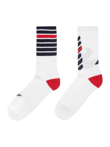 Emporio Armani 2 pack eagle and stripe sport ankle sock